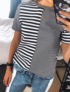 Striped tee perfect for everyday wear.