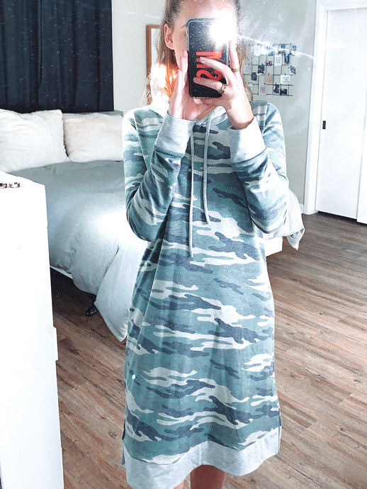 Camo hoodie dress is a modest length while remaining stylish and trendy. Super soft material so you stay comfy all day long!