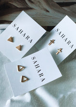 Load image into Gallery viewer, Gold Triangle Stud Earrings - Shop Sahara