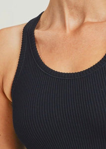 """ZARA"" Essential Ribbed Tank - Black"