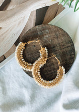 Load image into Gallery viewer, Beaded Gold Hoops