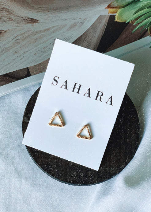 Open Triangle Stud Earrings - Shop Sahara