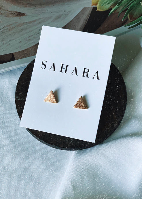 Gold Triangle Stud Earrings - Shop Sahara