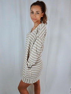Striped long sleeve shirt/sweater dress or tunic perfect for all seasons.