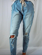 Load image into Gallery viewer, Denim joggers, the comfort of joggers with the look of denim. Pair with anything for an effortless and stylish look. Wear with sneakers or sandals for a casual look.