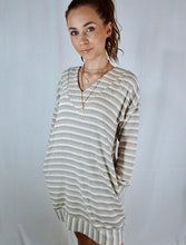 Load image into Gallery viewer, Striped long sleeve shirt/sweater dress or tunic perfect for all seasons.