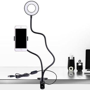 Phone Holder with Ring Light LED