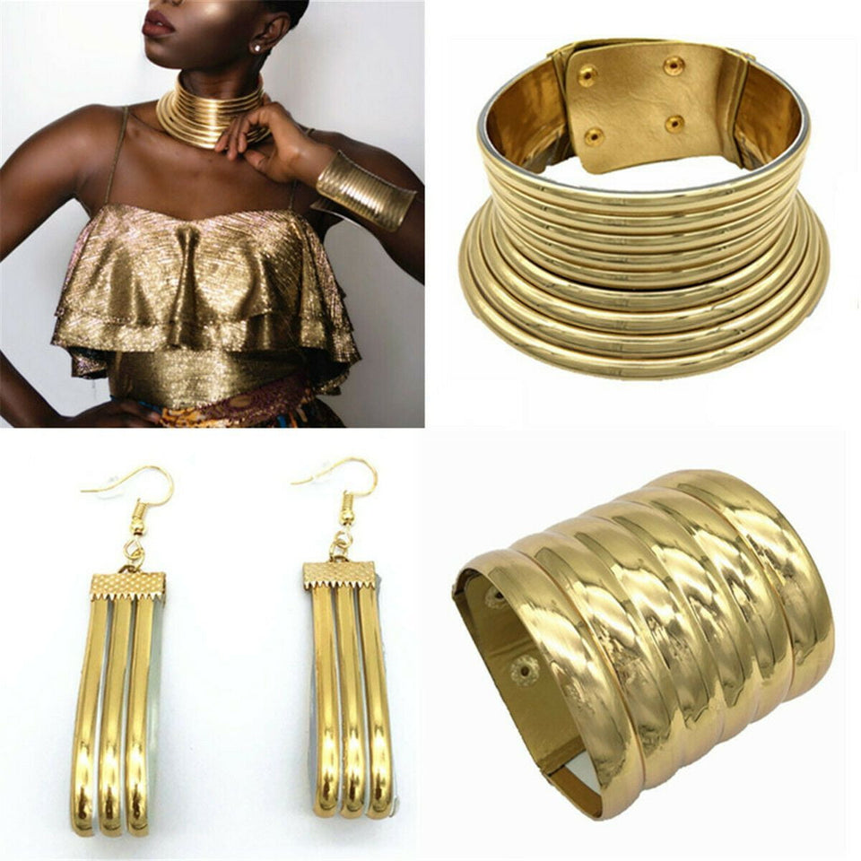 Custom Product - 3 Pc Set African Coil Collar Choker