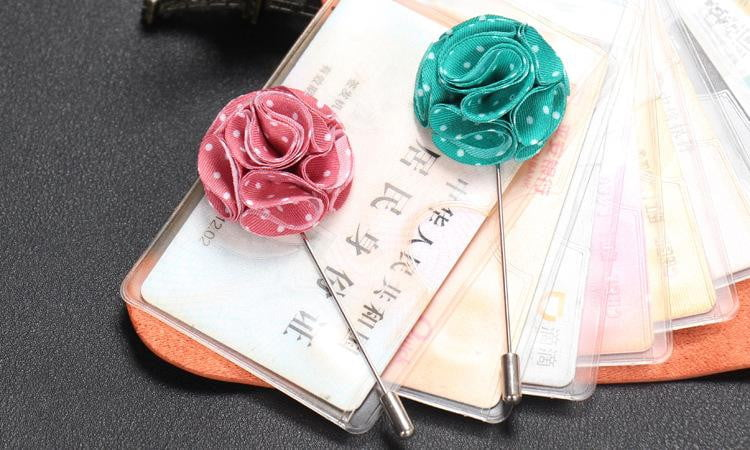 12PCS Multi-color  Flower Lapel Pins