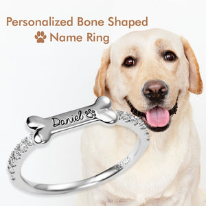 Personalized Dog Bone Shaped Ring