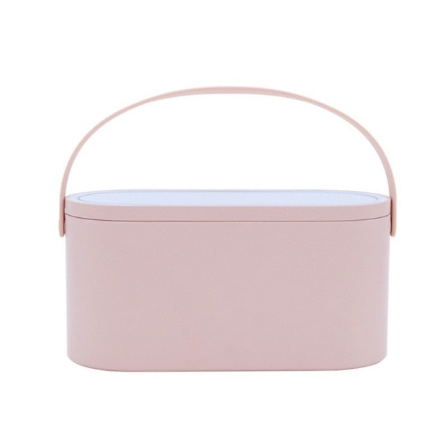 2 In 1 Cosmetic Storage Box with LED Mirror