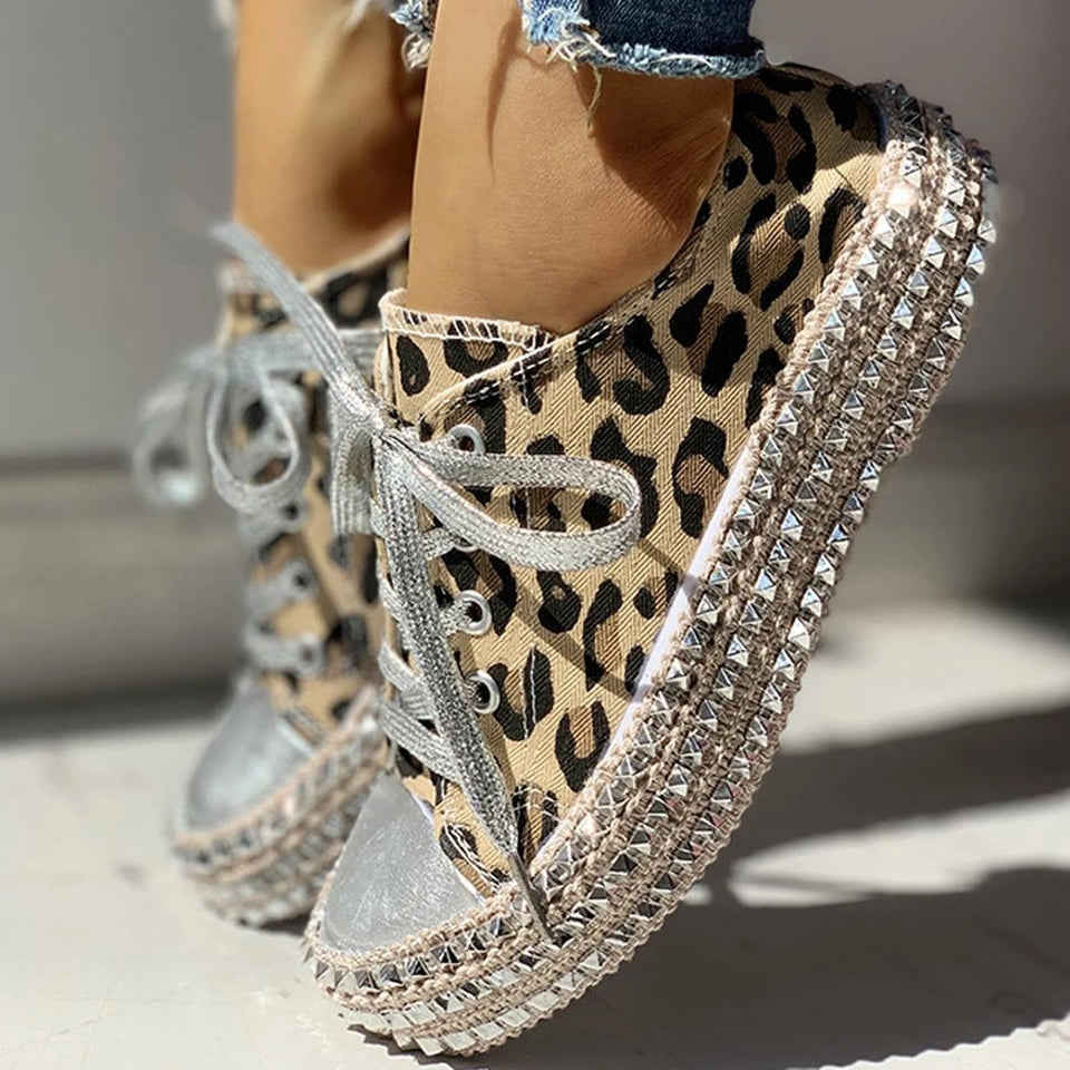 Leopard Sequined Canvas Shoes