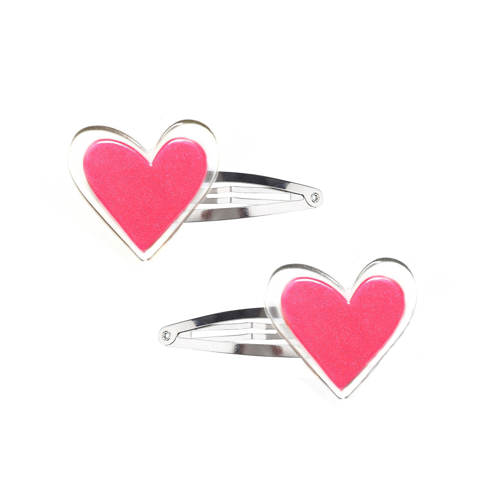 Lilies & Roses Neon Pink Heart Snap Clips