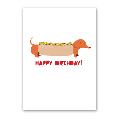 Hot Dog Doxie Birthday Card
