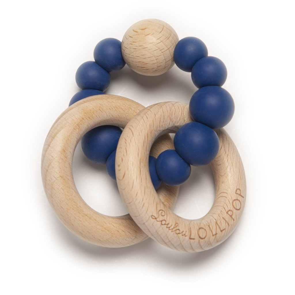 Loulou Lollipop Bubble Silicone & Wood Teether- True Blue
