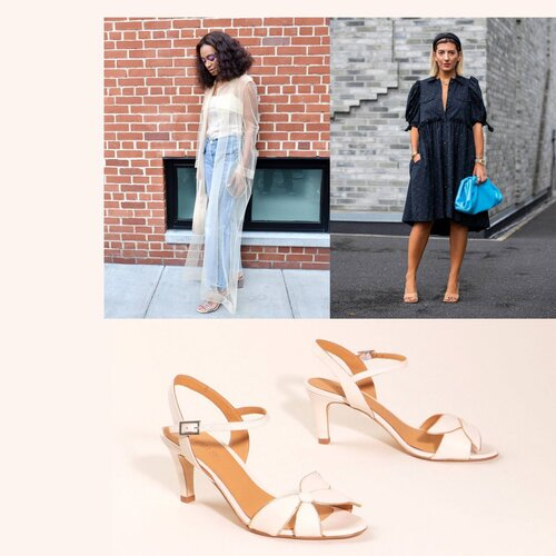 How to style cream heeled sandals