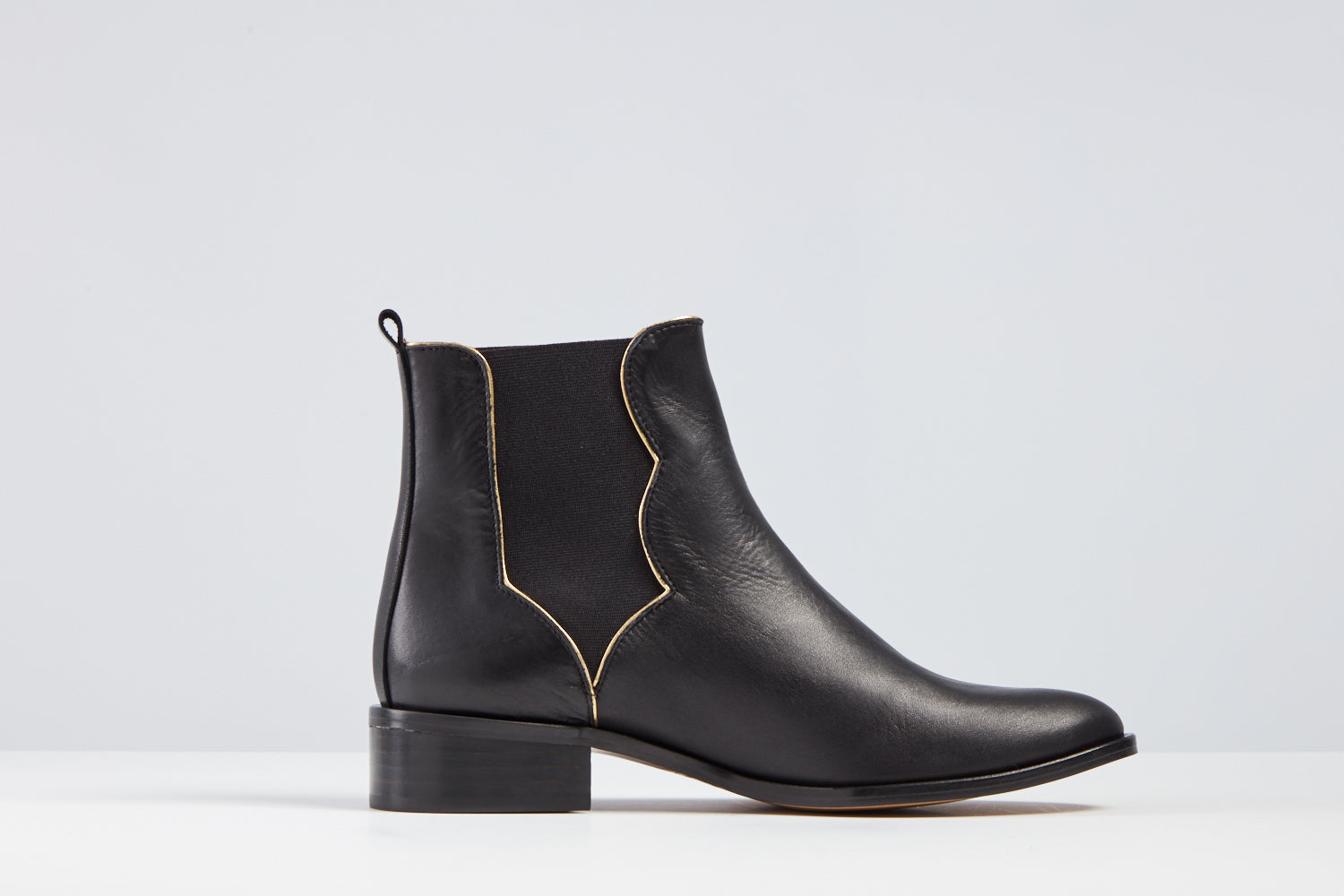 Freja Black Nappa and Gold boot