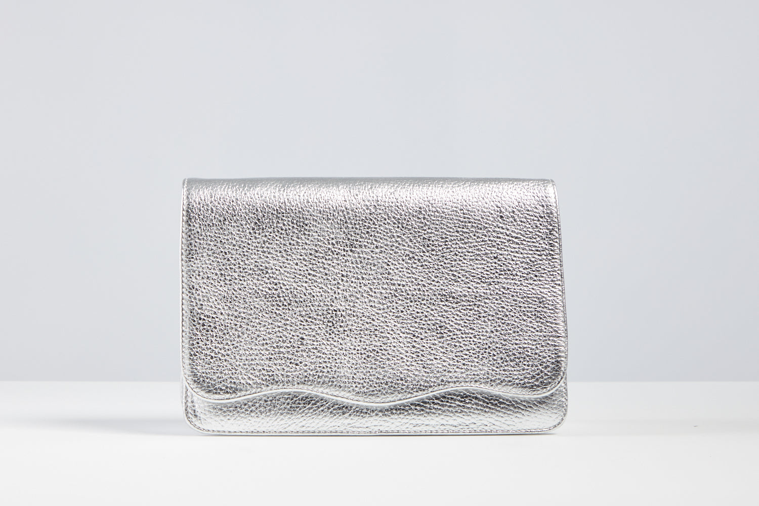 Silver Metallic Crossbody Scallop Bag