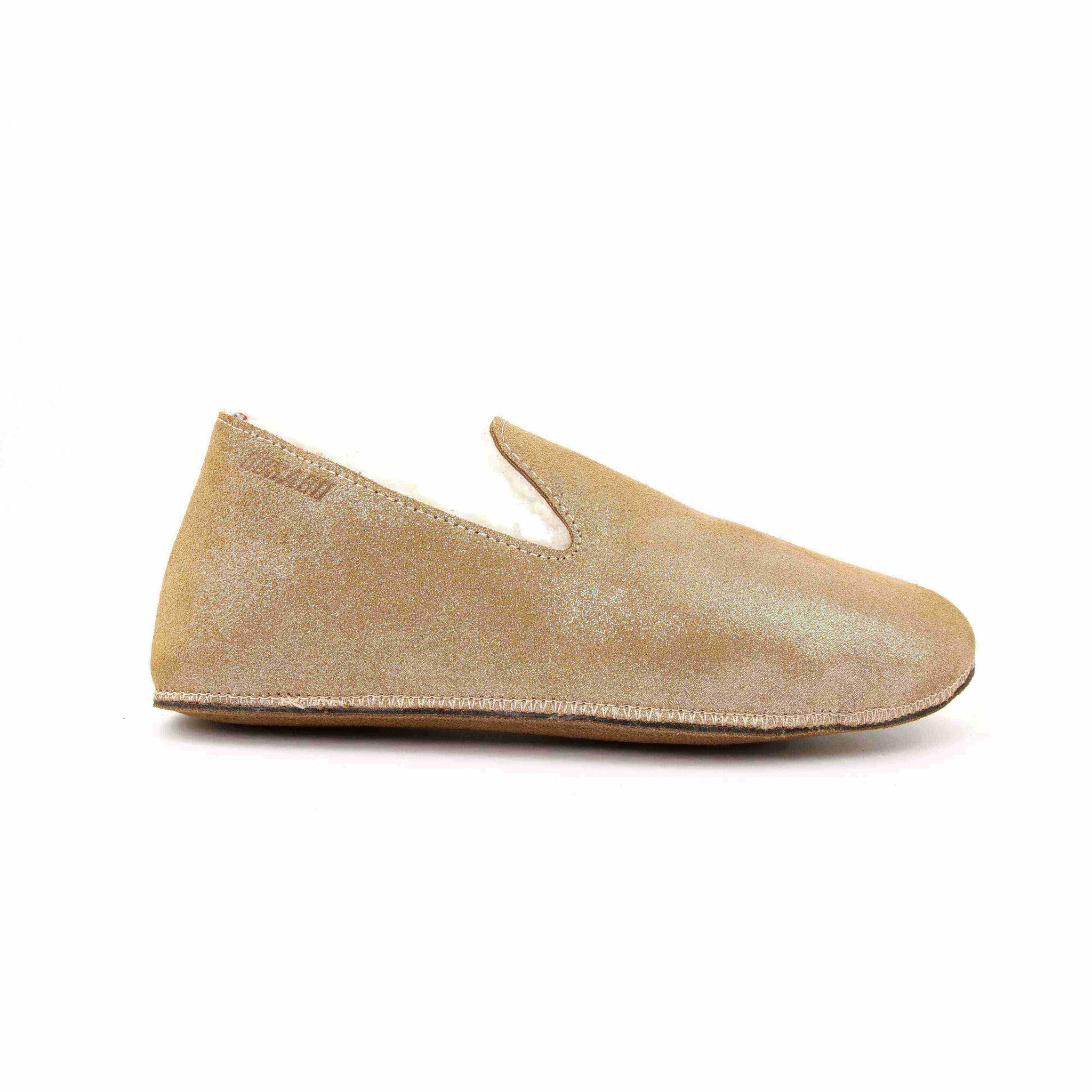 Hug Metallic suede leather slippers Caramel