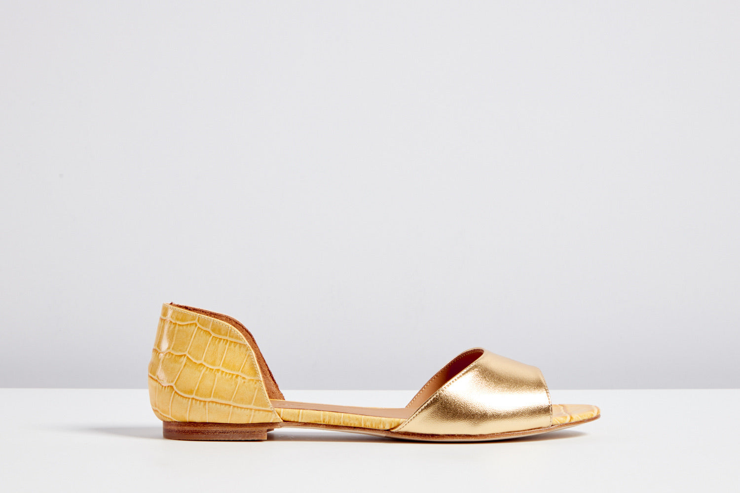 Tanni Yellow croc & gold