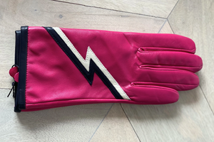 Pink ziggy leather gloves