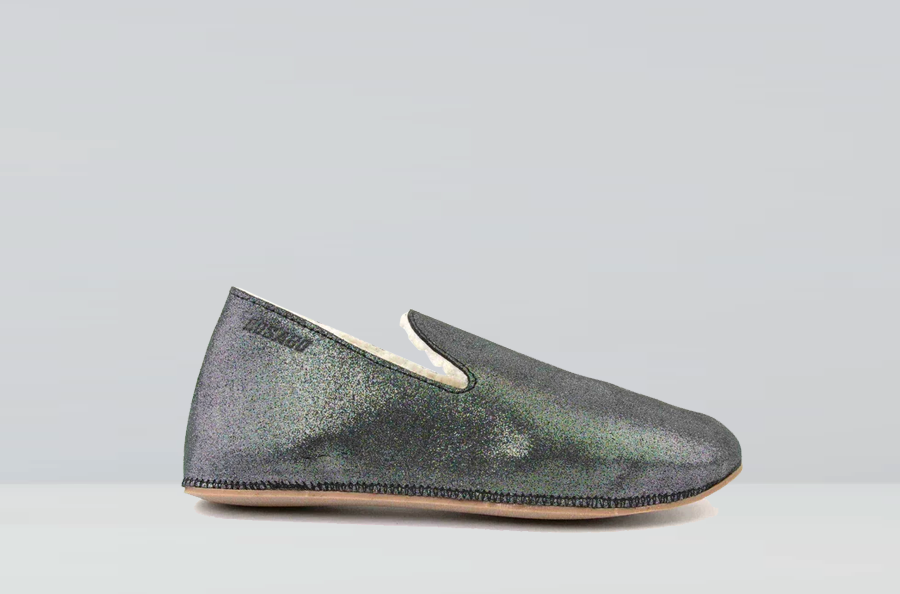 Hug Metallic suede leather slippers
