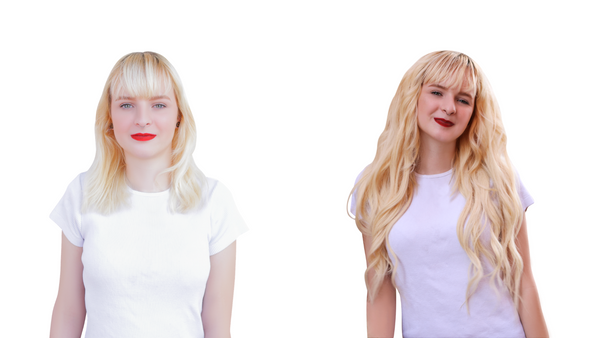 Young blonde woman that is wearing 22 inch long hair extensions in the after picture. Before and after hair transformation. Clip in hair extension on young blonde woman with blonde hair.