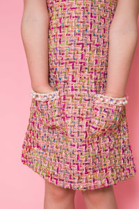 Tweed Pearl Dress - Pink