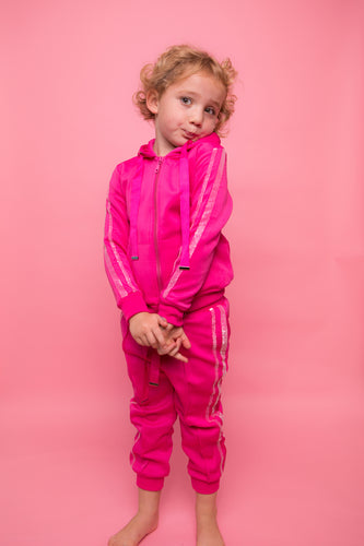 Glitter Two Stripe Trackie - Fuschia