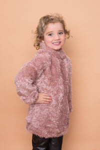 Fluffy Polo Neck Jumper - Pink