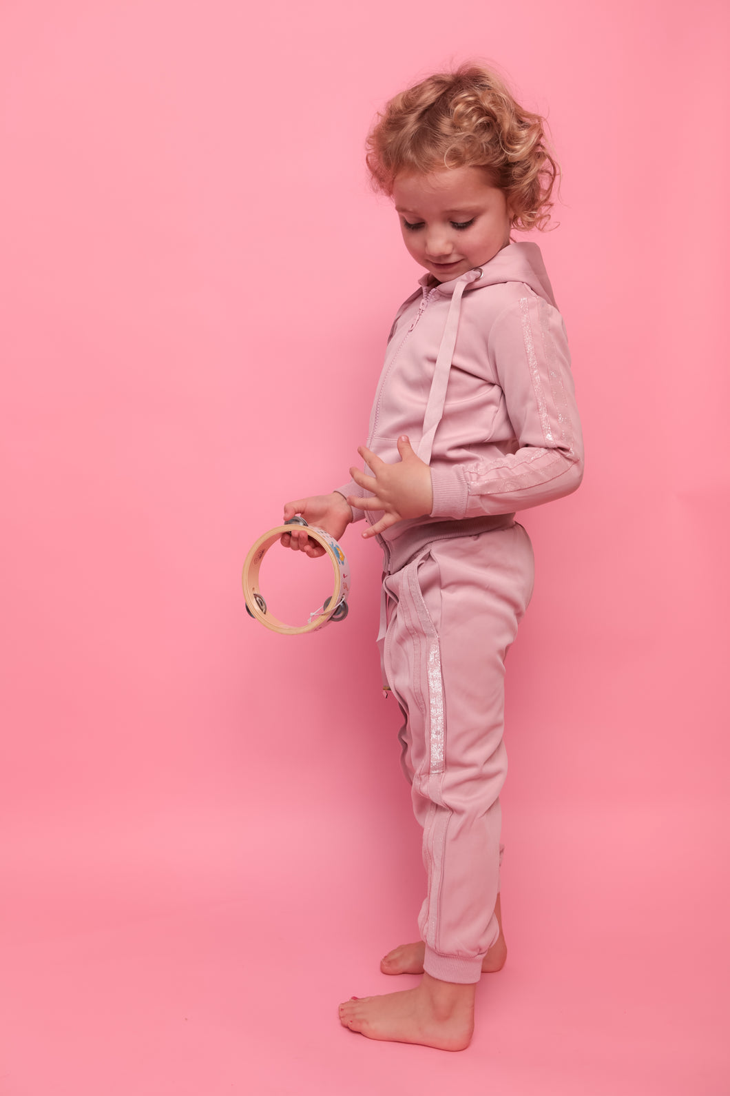 Glitter Two Stripe Trackie - Powder Pink