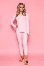 V Neckline Knit Set - Pink