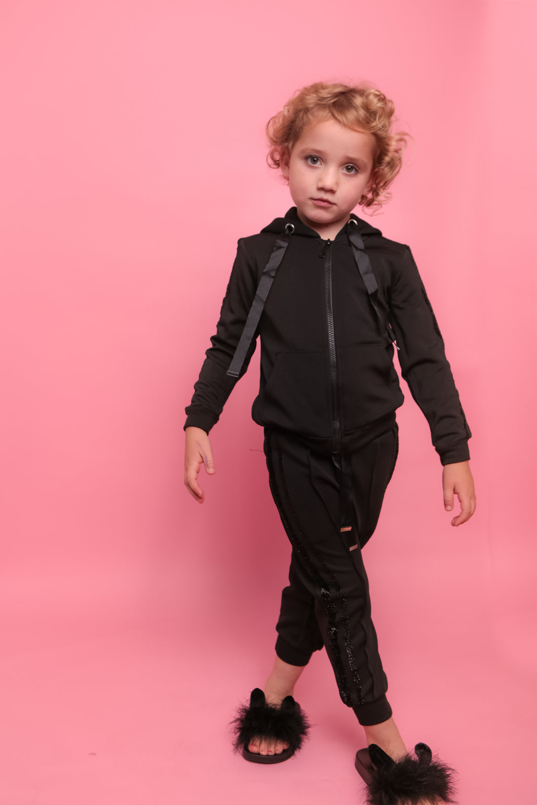 Glitter Two Stripe Trackie - Black