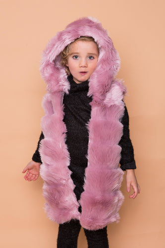 Faux Fur Hooded Gilet - Pink