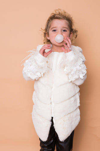 Faux Fur Gilet - Cream