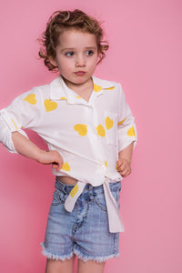 Heart Tie Up Shirt - White/Yellow