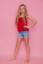 Crochet Trim Top - Red