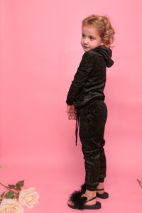 Glitter Sparkly Trackie - Black & Gold
