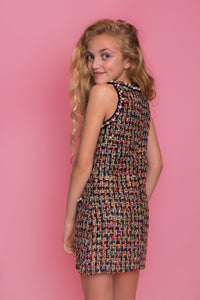 Tweed Pearl Dress - Black