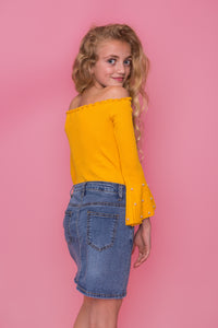 Off The Shoulder Pearl Top - Yellow