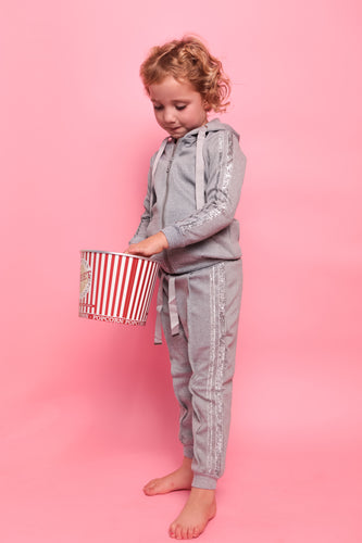 Glitter Two Stripe Trackie - Grey