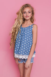 Polka Dot Crochet Tunic - Blue