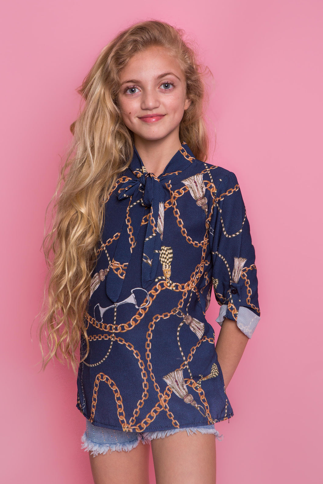 Chain Print Tunic - Navy