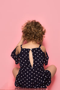 Polka Dot Playsuit - Navy