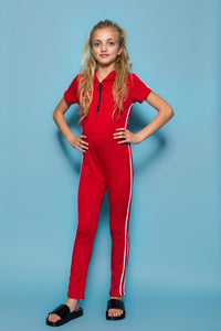 Stripe Jumpsuit - Red