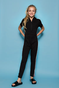 Stripe Jumpsuit - Black