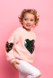 Sequin Heart Jumper - Pink