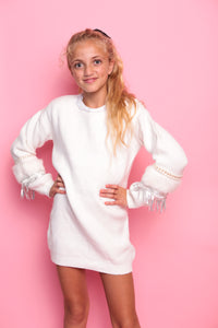 Bead Sequin Jumper Dress - White