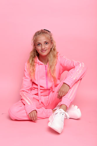 Glitter Two Stripe Trackie - Neon Coral Pink