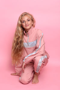 Sporty Colour Block Trackie - Pink/Silver